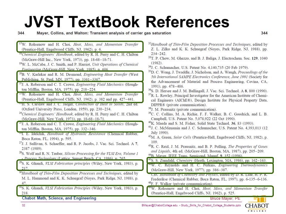 JVST TextBook References