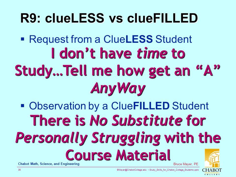 R9: clueLESS vs clueFILLED