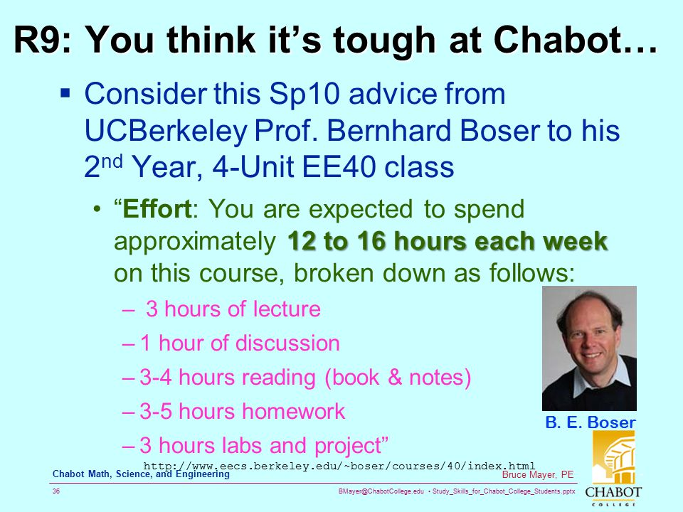 R9: You think it's tough at Chabot…