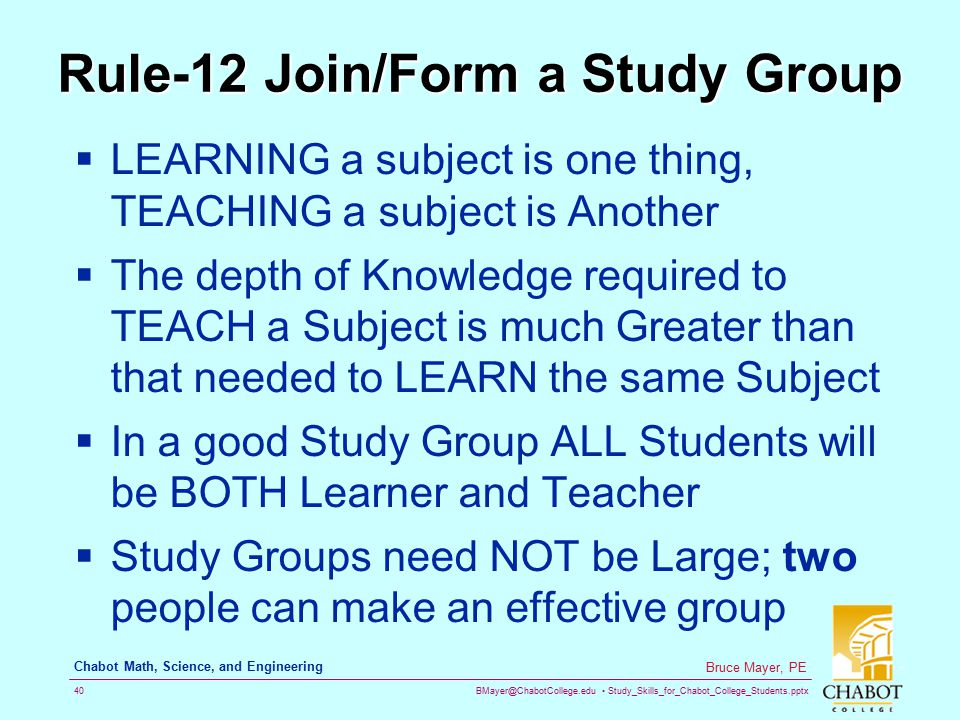 Rule-12 Join/Form a Study Group