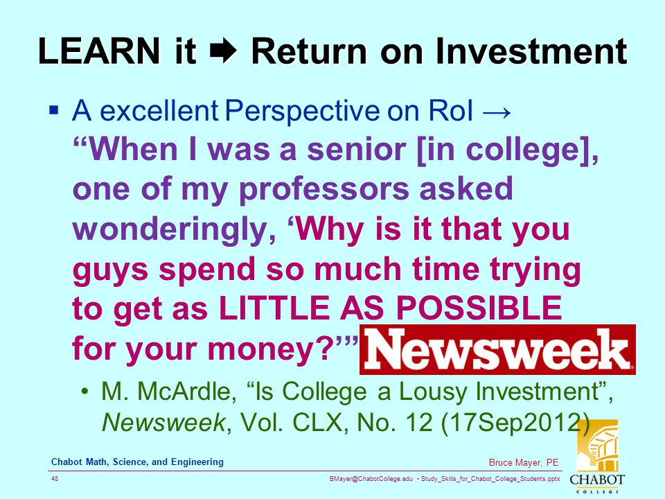 LEARN it  Return on Investment