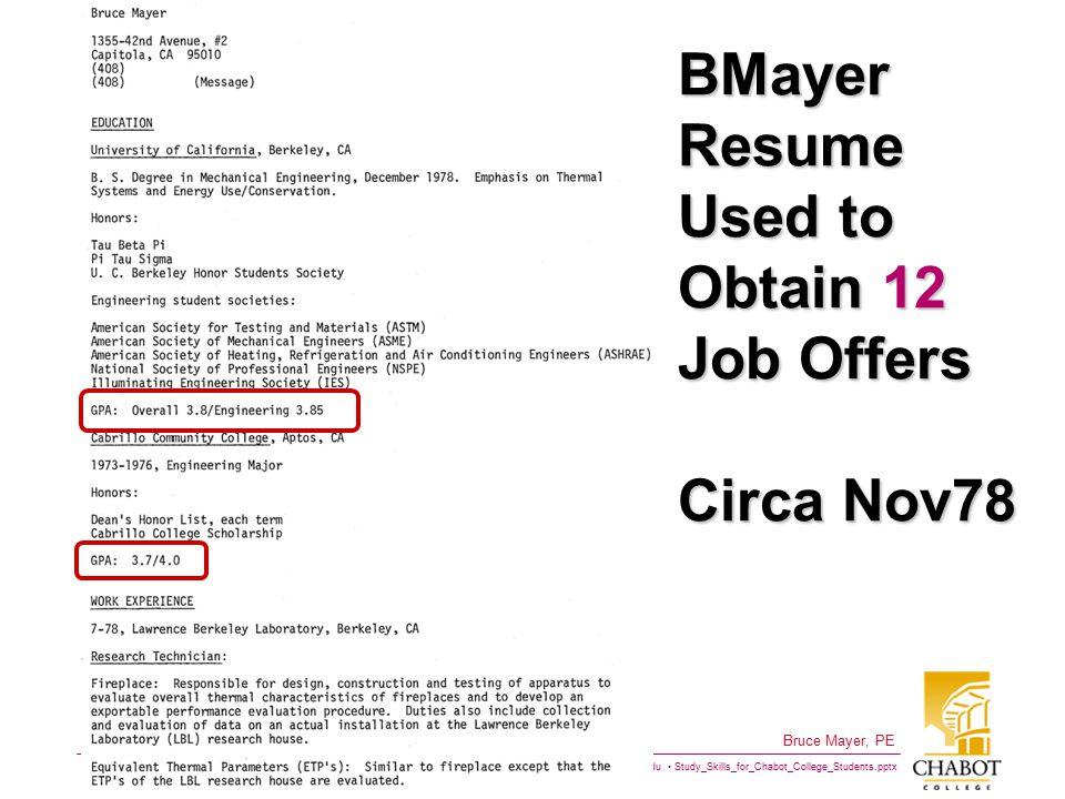 BMayer Resume Used to Obtain 12 Job Offers Circa Nov78