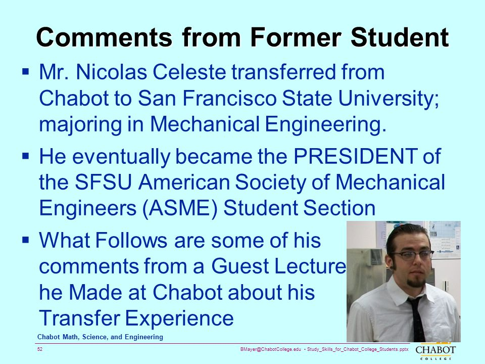 Comments from Former Student
