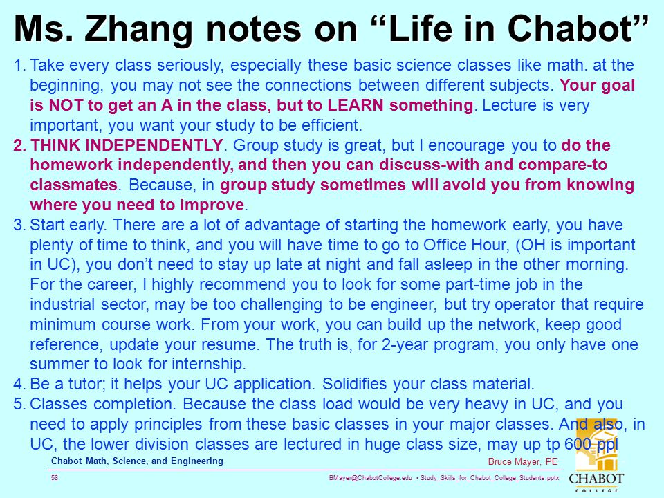 Ms. Zhang notes on Life in Chabot
