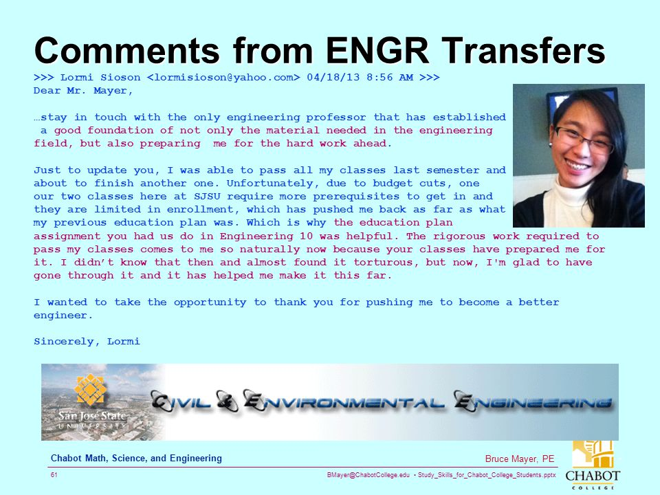 Comments from ENGR Transfers
