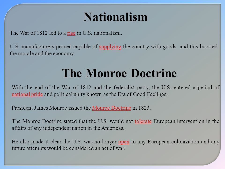 Nationalism The Monroe Doctrine