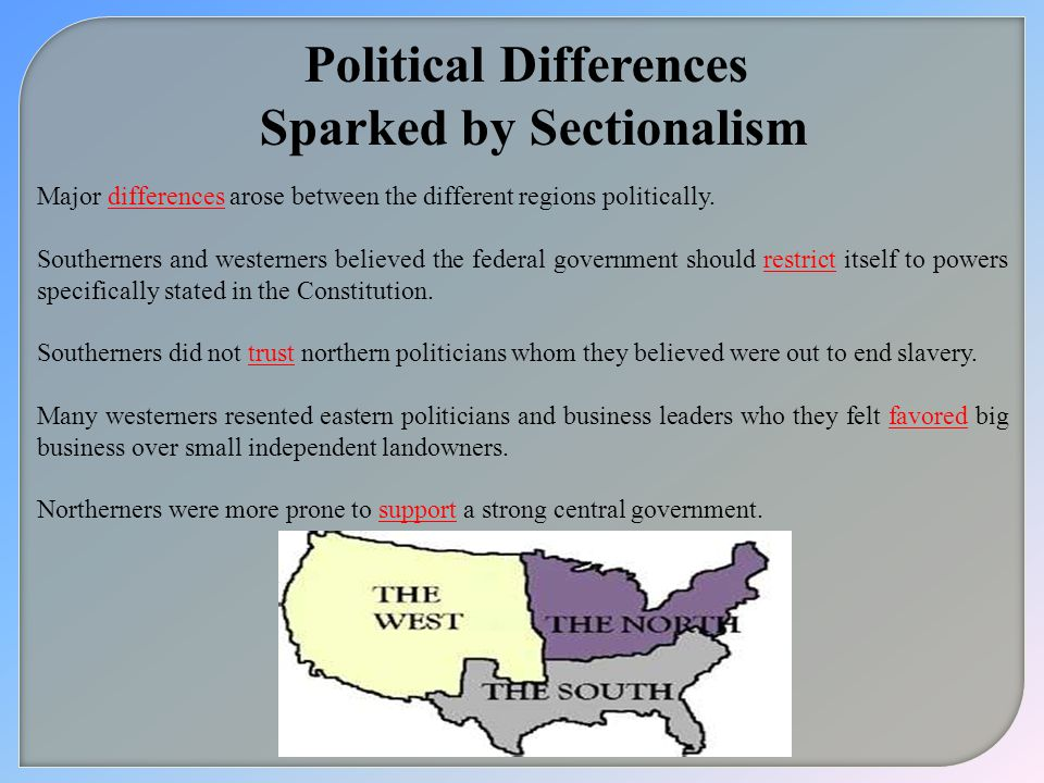Political Differences Sparked by Sectionalism
