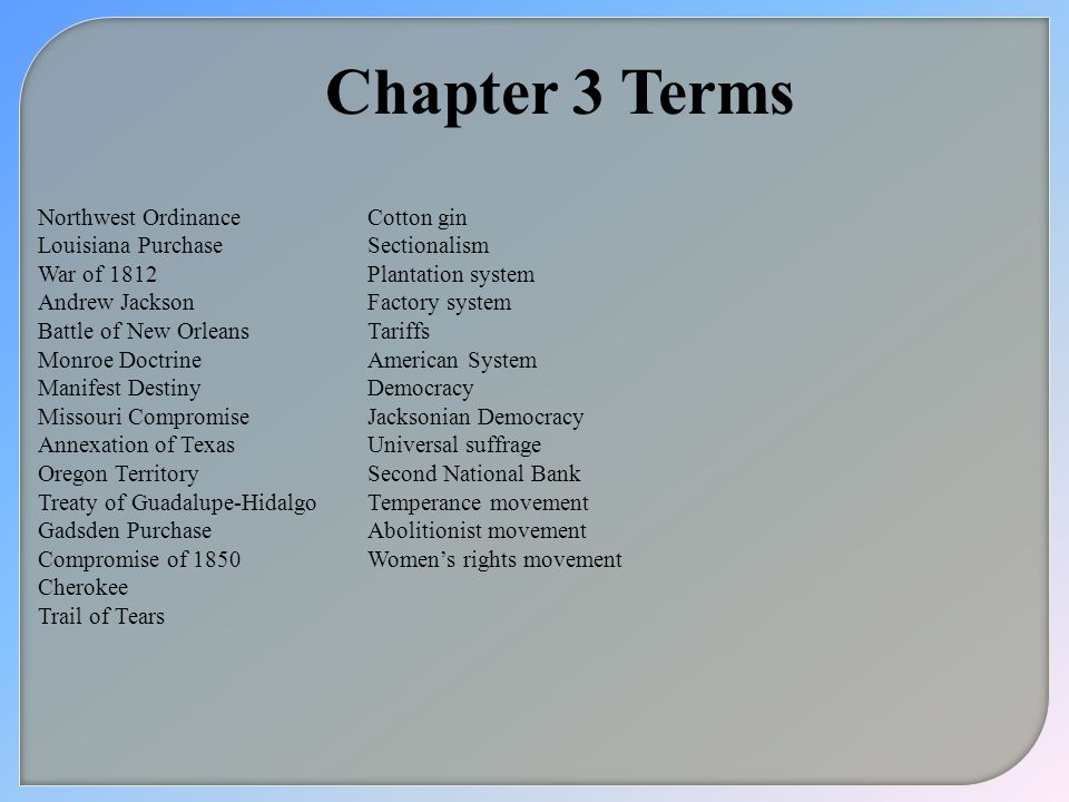 Chapter 3 Terms Northwest Ordinance Louisiana Purchase War of 1812