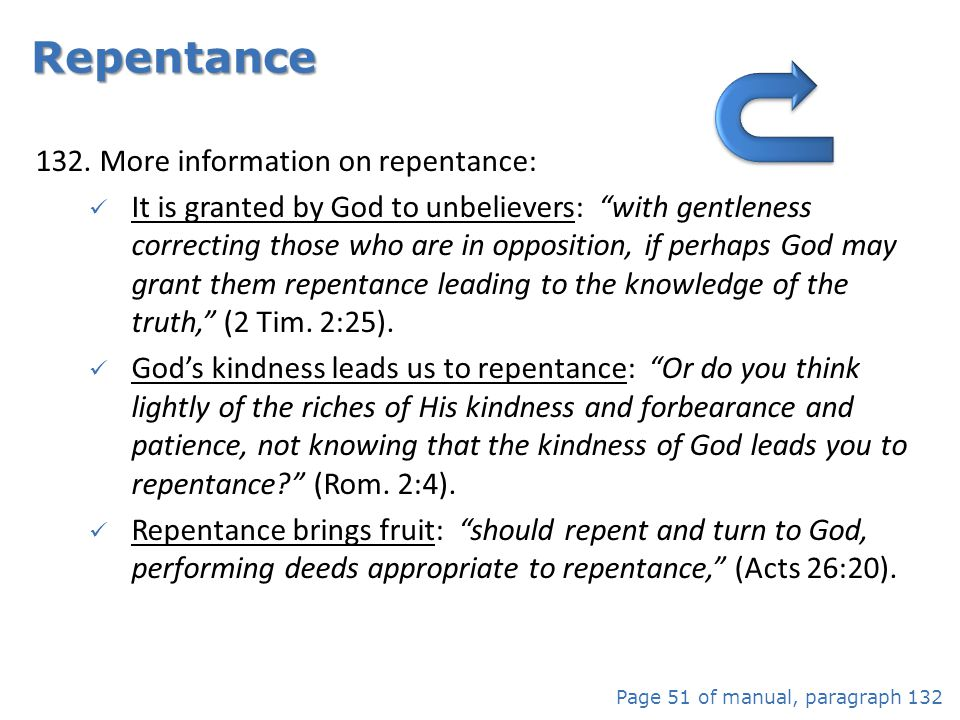 More information on repentance: