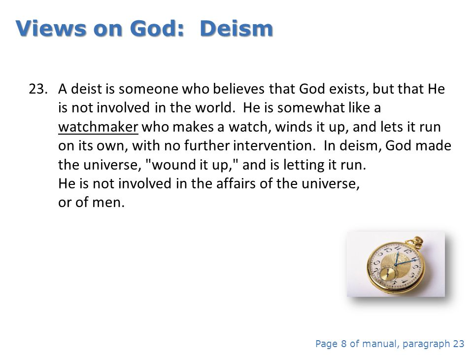 Views on God: Deism