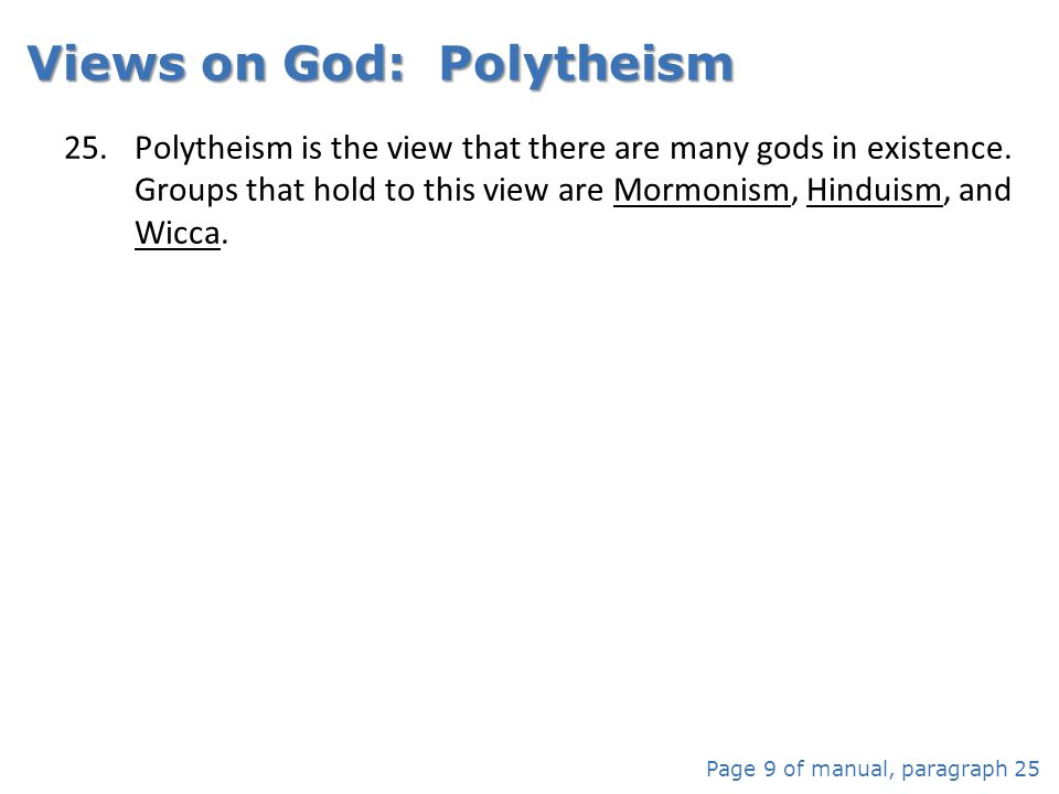 Views on God: Polytheism