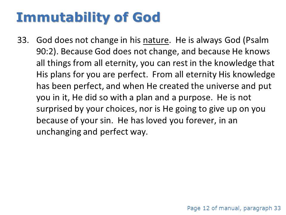 Immutability of God