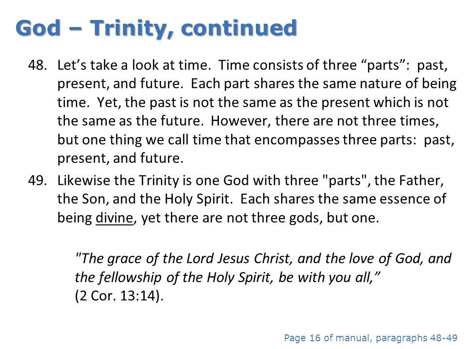 God – Trinity, continued