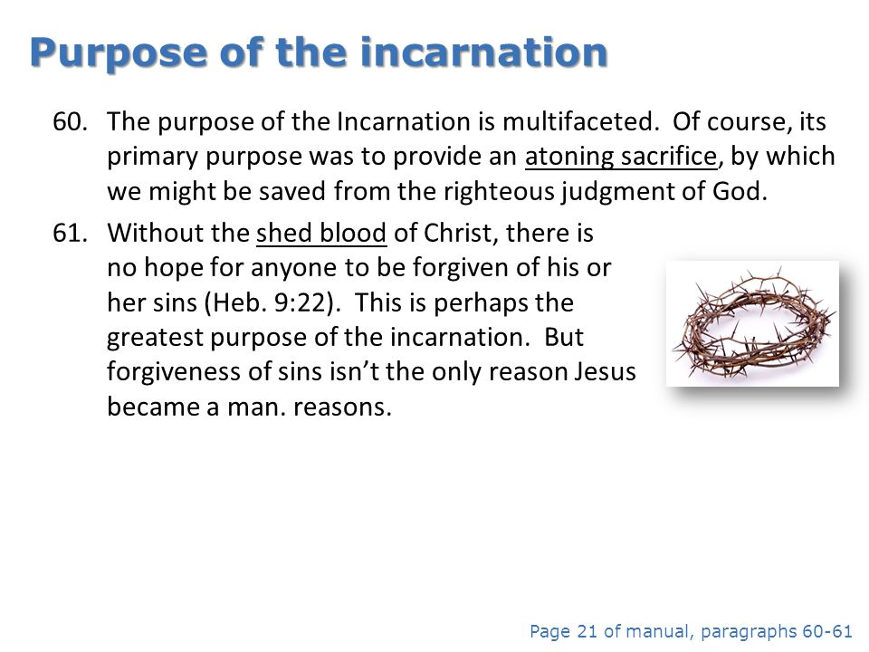 Purpose of the incarnation