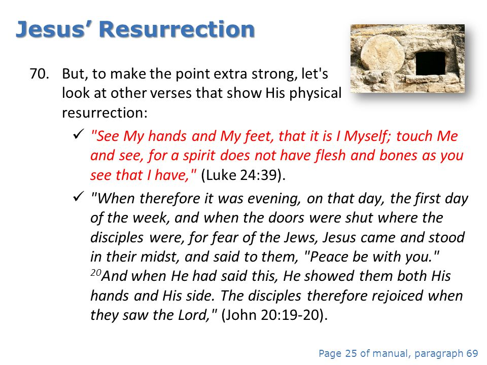 Jesus' Resurrection But, to make the point extra strong, let s look at other verses that show His physical resurrection: