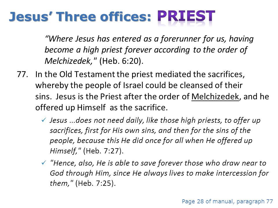 Jesus' Three offices: Priest