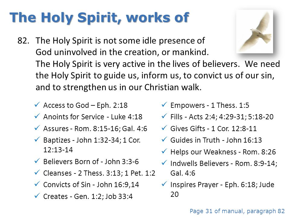The Holy Spirit, works of