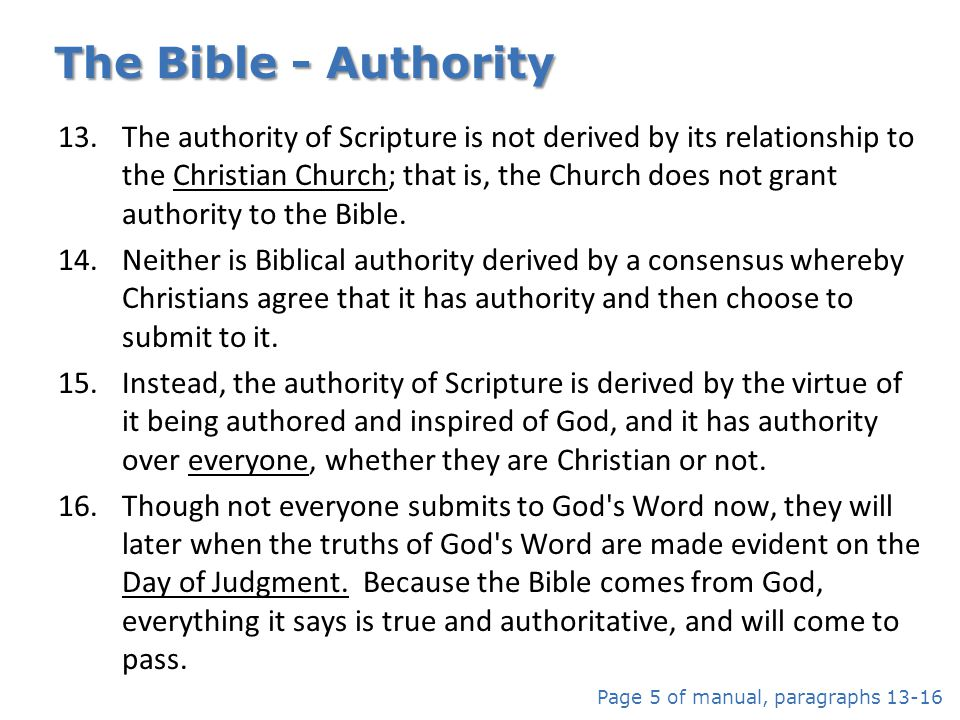 The Bible - Authority