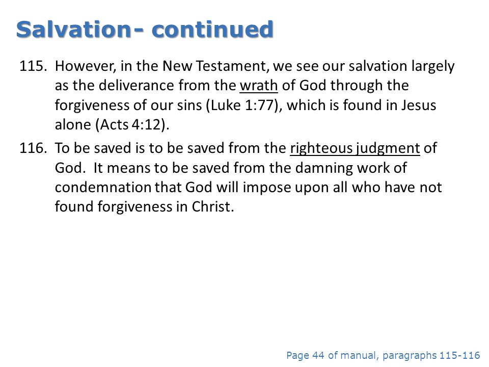 Salvation - continued