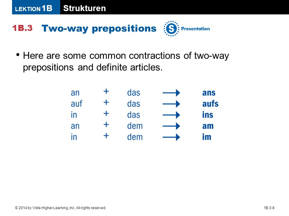 Two-way prepositions Here are some common contractions of two-way prepositions and definite articles.
