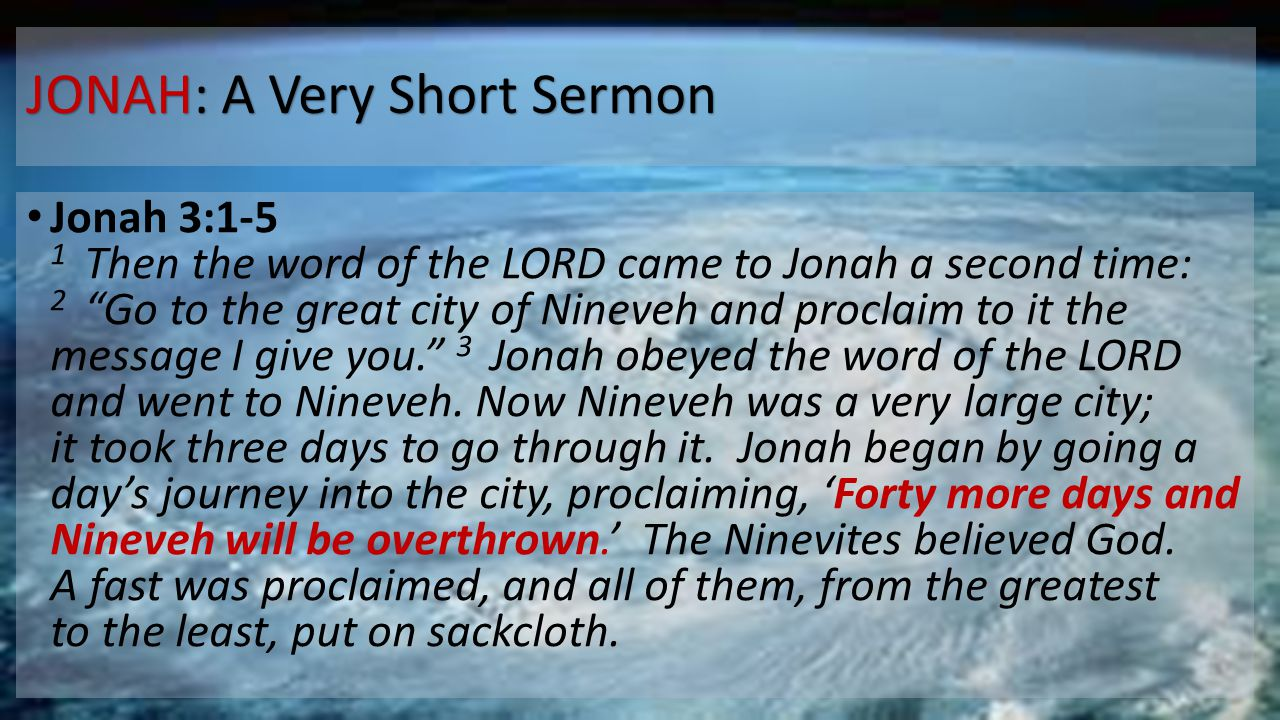 JONAH: A Very Short Sermon