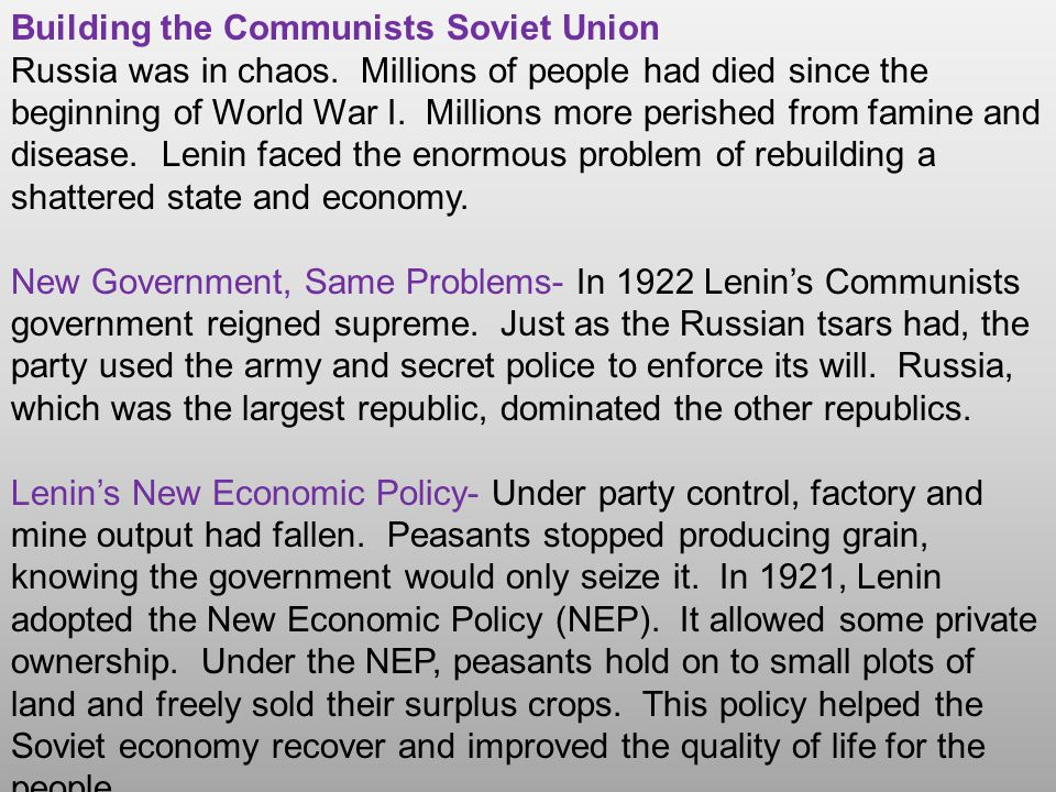 Building the Communists Soviet Union