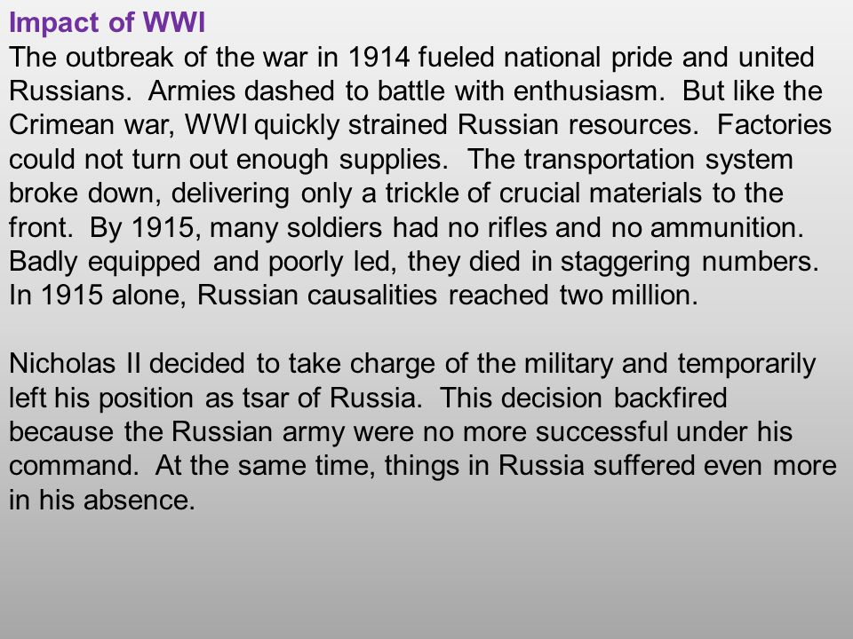 Impact of WWI