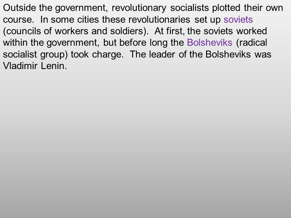 Outside the government, revolutionary socialists plotted their own course.