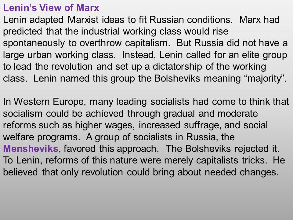 Lenin's View of Marx