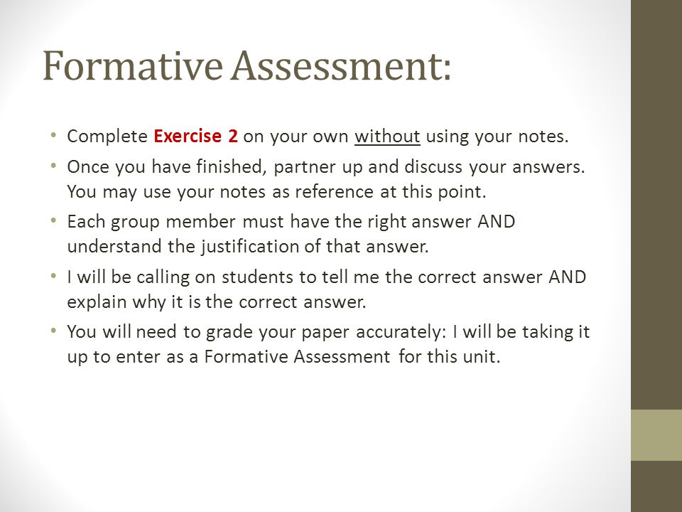 Formative Assessment: