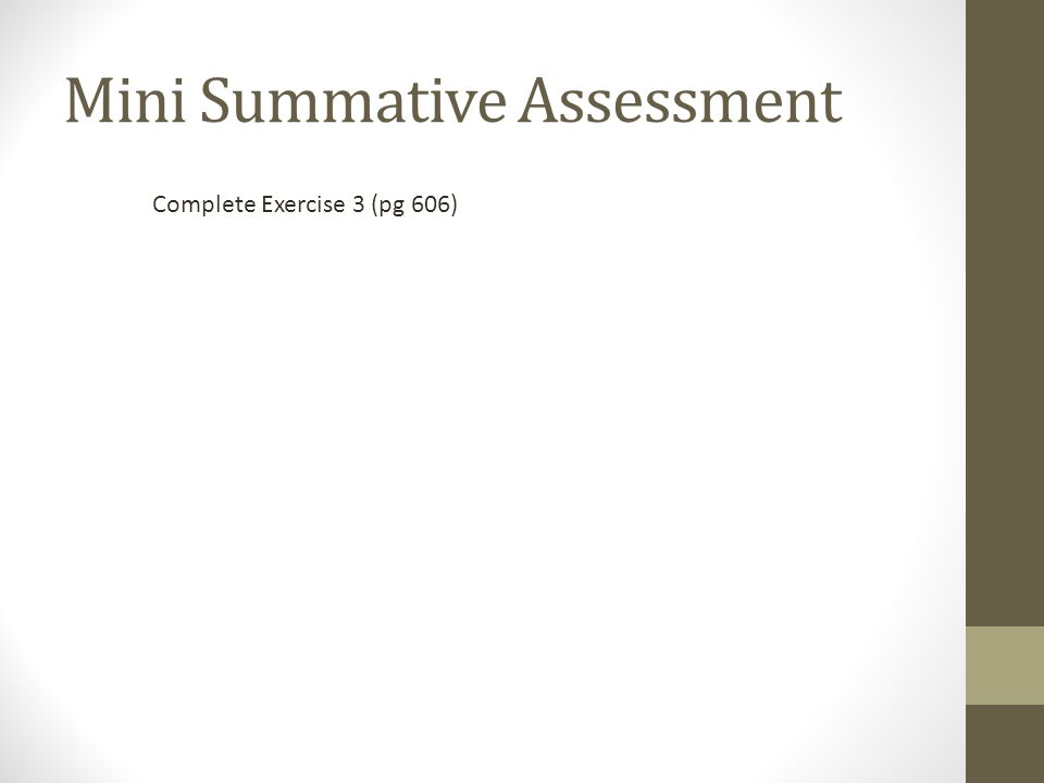 Mini Summative Assessment