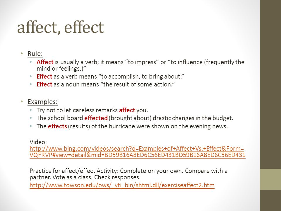 affect, effect Rule: Examples:
