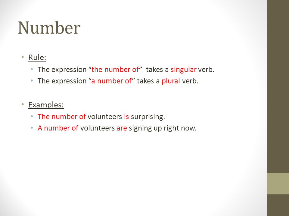 Number Rule: Examples: