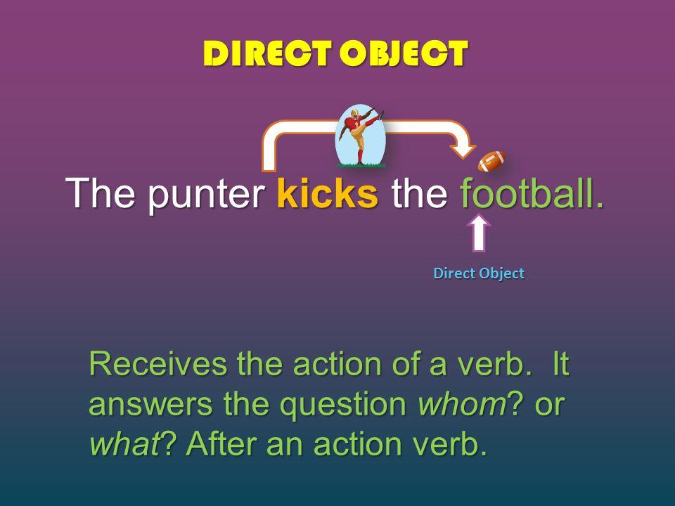 The punter kicks the football.