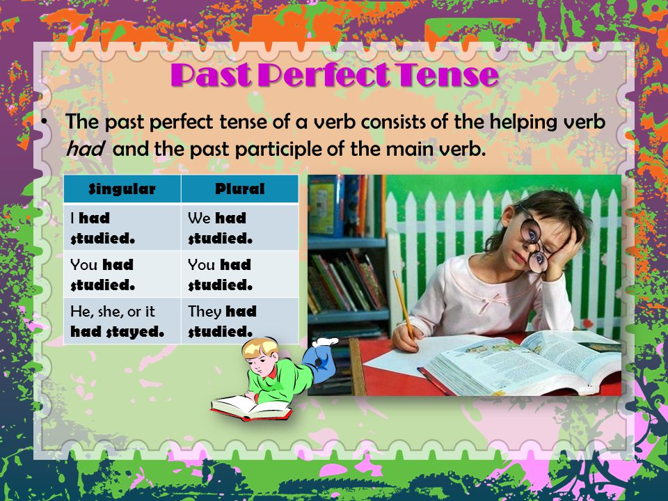 Past Perfect Tense The past perfect tense of a verb consists of the helping verb had and the past participle of the main verb.