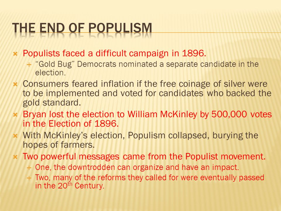 The end of populism Populists faced a difficult campaign in 1896.