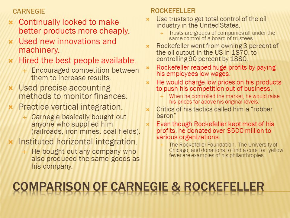 Comparison of Carnegie & Rockefeller