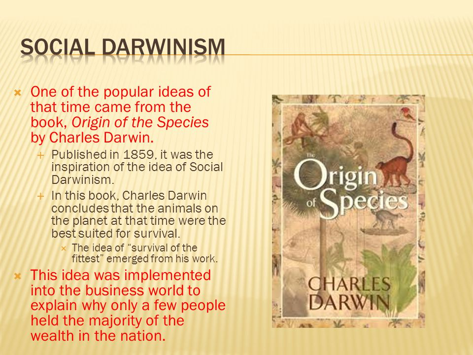 Social Darwinism One of the popular ideas of that time came from the book, Origin of the Species by Charles Darwin.