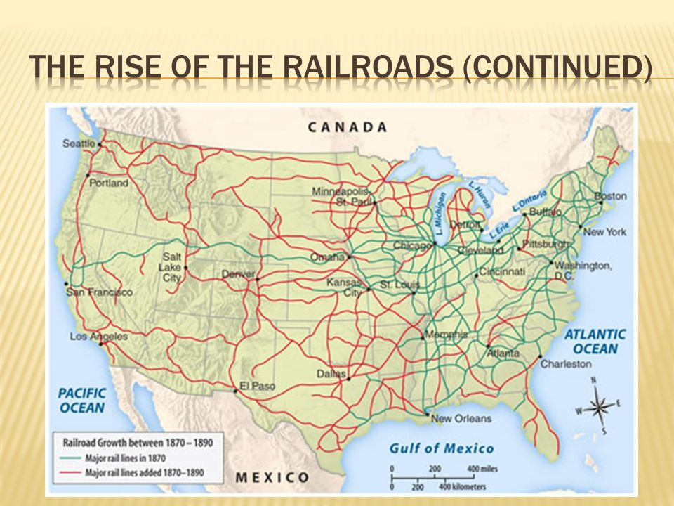 The Rise of the Railroads (continued)
