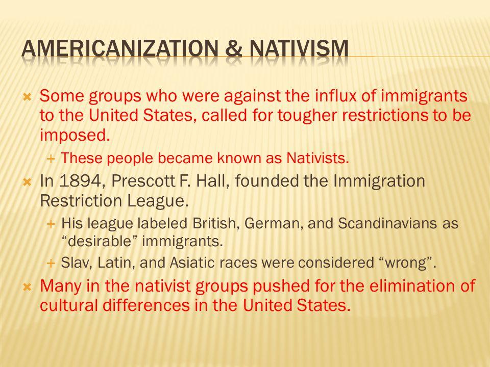 Americanization & Nativism