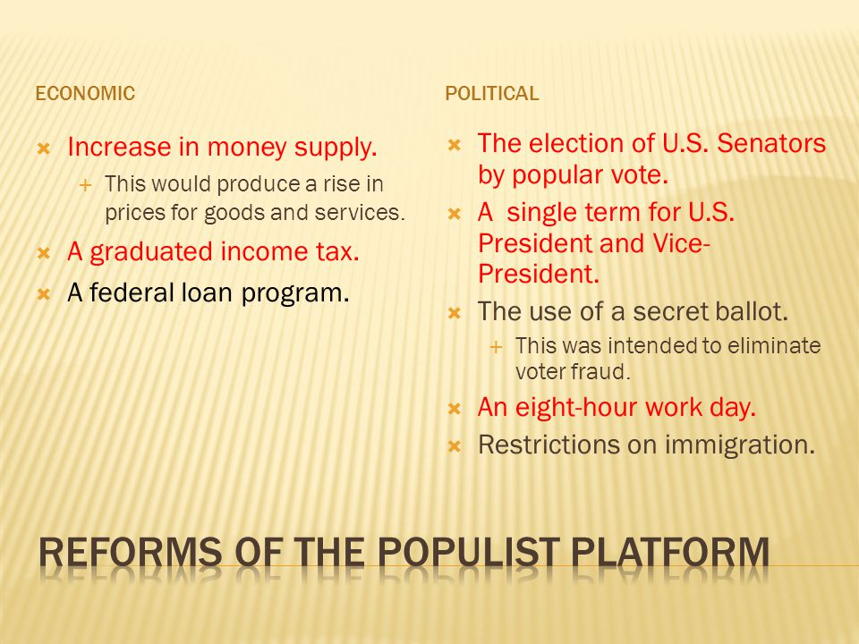 Reforms of The populist platform