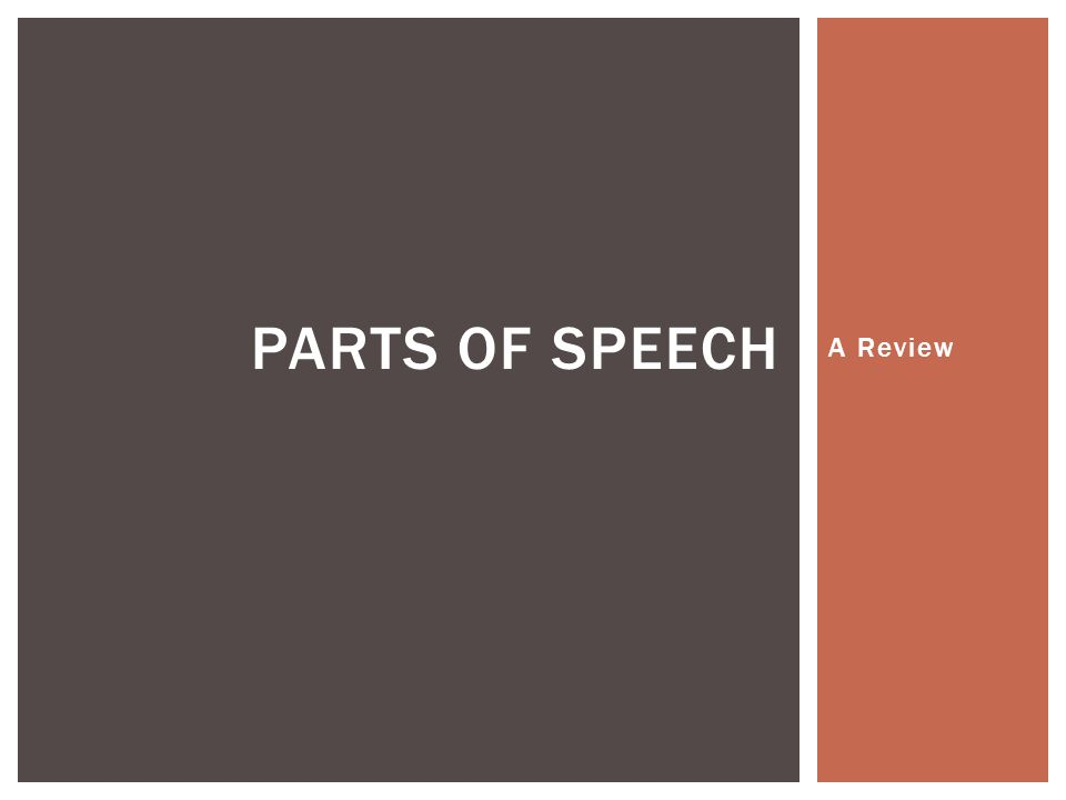 Parts of Speech A Review