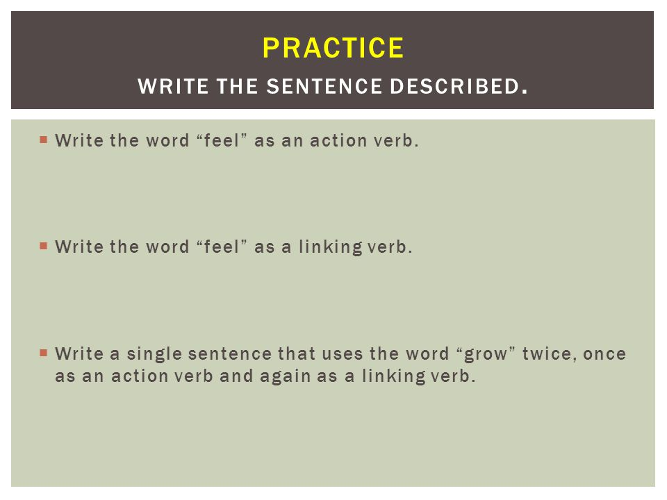 Practice Write the sentence described.