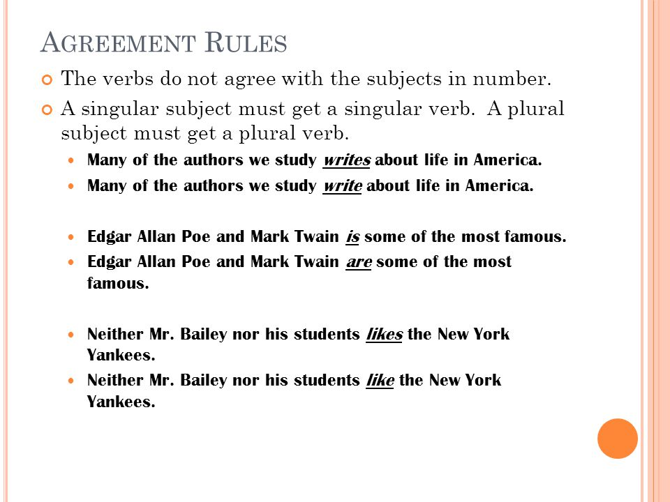 Agreement Rules The verbs do not agree with the subjects in number.