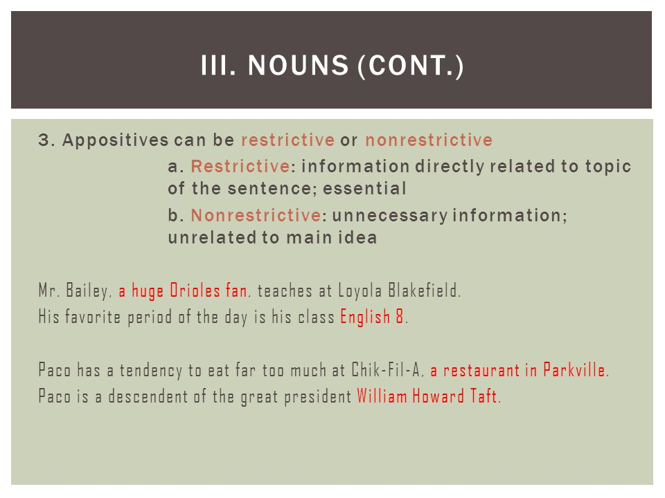 III. Nouns (cont.)