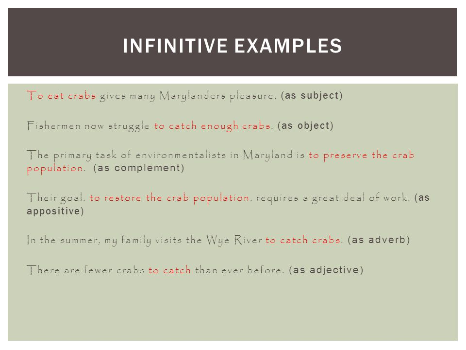 Infinitive Examples