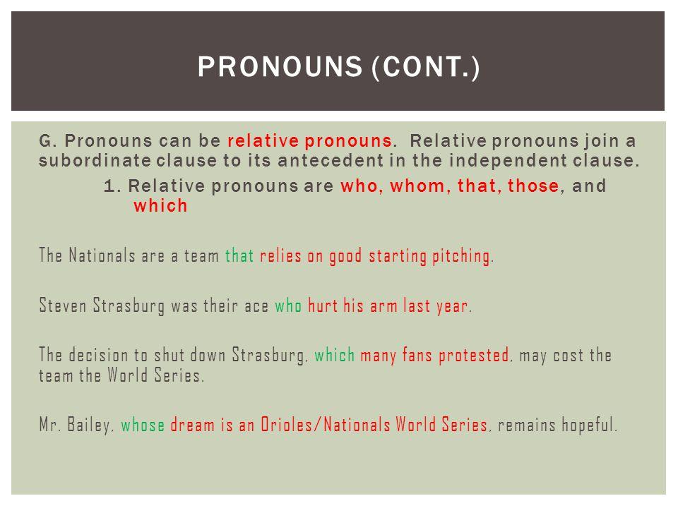 Pronouns (cont.)
