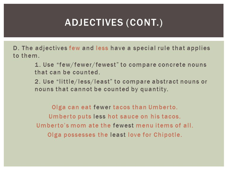 Adjectives (cont.)