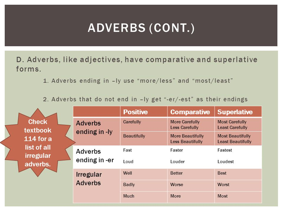 Check textbook 114 for a list of all irregular adverbs.