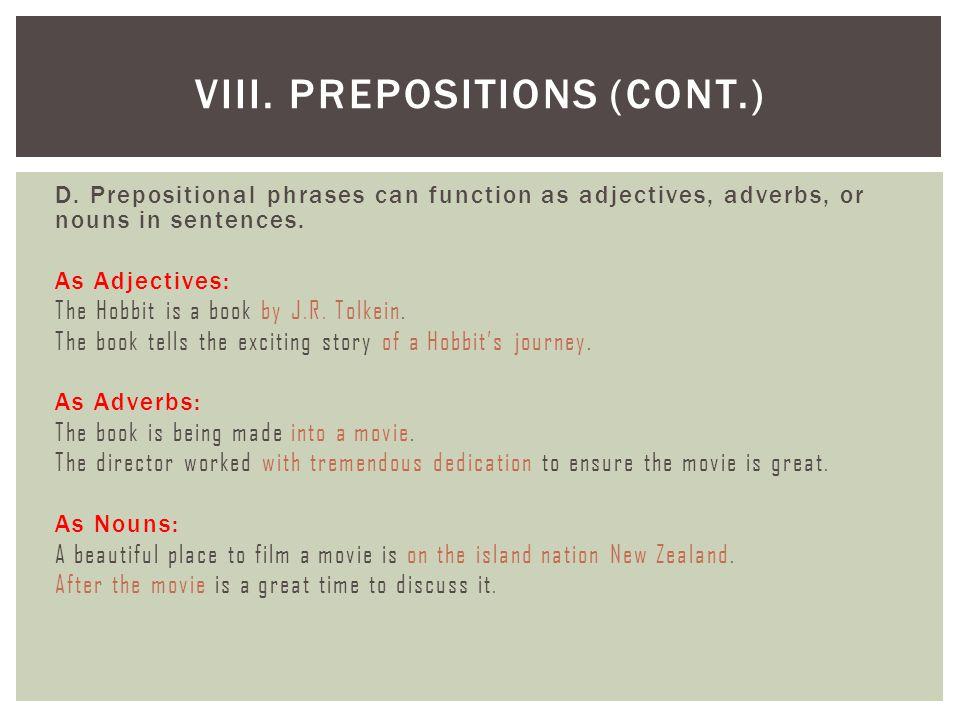 VIII. Prepositions (cont.)